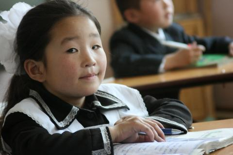Girl studying in primary school, Gobi-Altai aimag